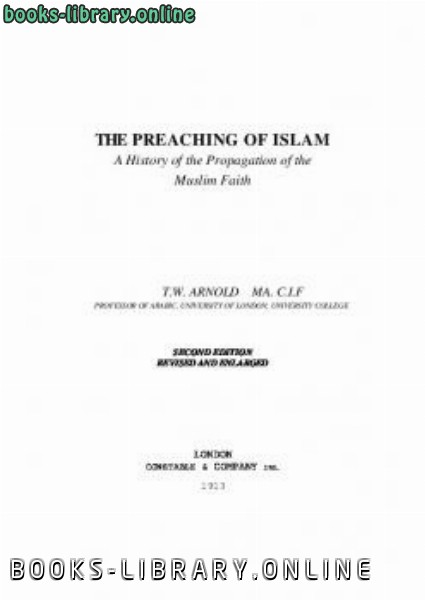 ❞ كتاب The Preaching Of Islam ❝  ⏤ توماس أرنولد