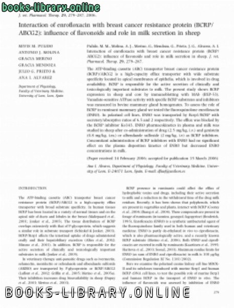 ❞ كتاب Interaction of enrofloxacin with breast cancer resistance protein (BCRP ABCG2) influence of flavonoids and role in milk secretion in sheep ❝  ⏤ كاتب غير محدد