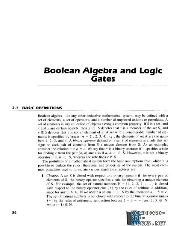 كتاب 02 – Boolean Algebra and Logic Gates