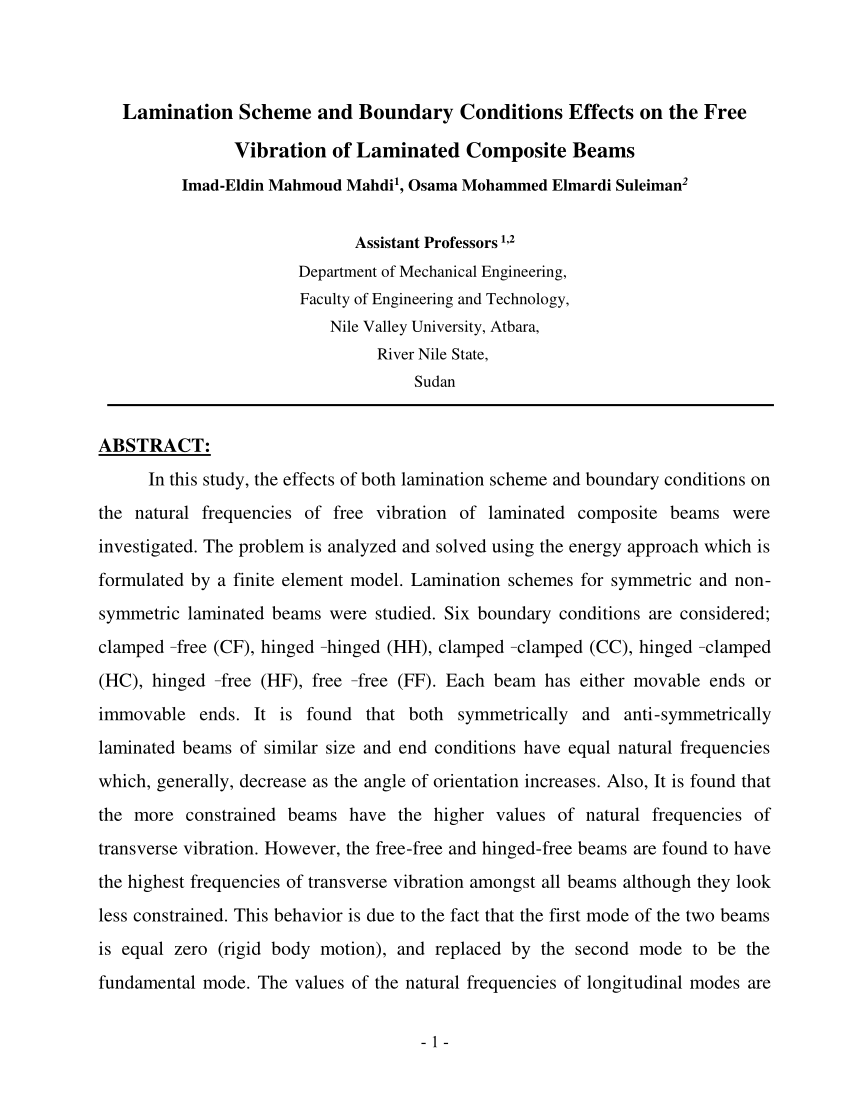 كتاب LAMINATION SCHEME AND BOUNDARY CONDITIONS EFFECTS ON THE FREE VIBRATION OF LAMINATED COMPOSITE BEAMS