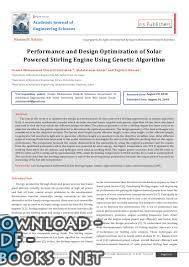 قراءة و تحميل كتاب Performance and Design Optimization of Solar Powered Stirling Engine Using Genetic Algorithm PDF